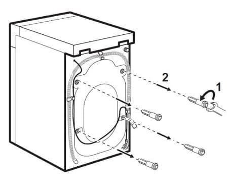 Как извлечь предохранительные болты из стиральной машины