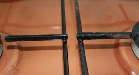 чистим стальную решетку