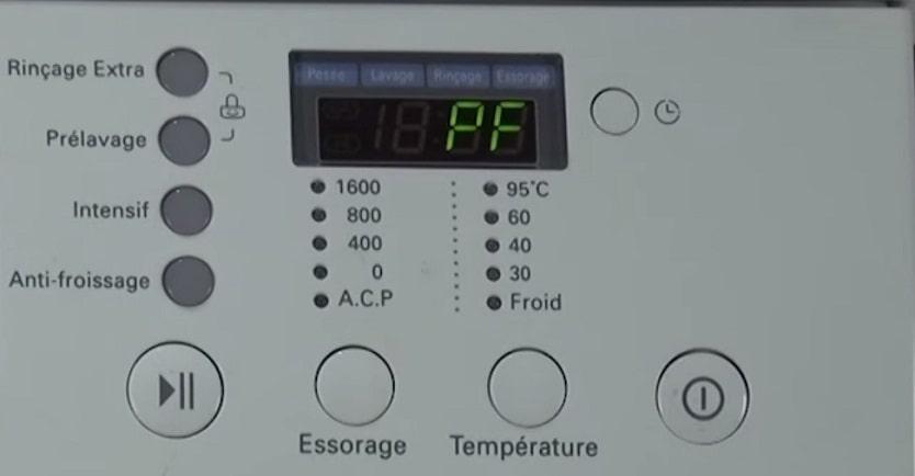 ошибка PF на стиральной машине LG